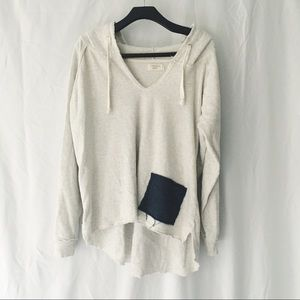 Light Grey Distressed Hooded Sweatshirt